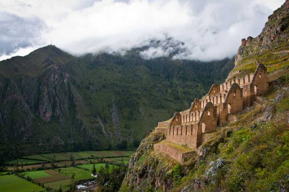Inca Trail 8 days to Machu Picchu - Inca Storehouses over Ollantaytambo - Day 3